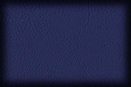 navy blue: Photograph of Artificial Leather, dark Navy Blue, Coarse Vignette Grunge Texture Sample. Stock Photo