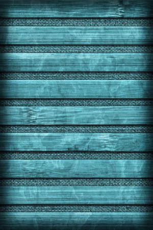 handiwork: Bamboo Mat Handiwork, Bleached and Stained Cyan, Vignette Grunge Texture Sample.