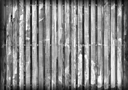 discolored: Old Wooden Mat, Bleached and Gray Stained, Varnished, Cracked, Scratched, Peeled Vignette Grunge Texture. Stock Photo