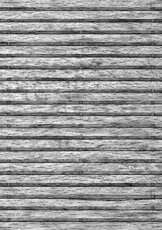 discolored: Old Wooden Mat, Bleached and Gray Stained, Varnished, Cracked, Scratched, Peeled Grunge Texture. Stock Photo