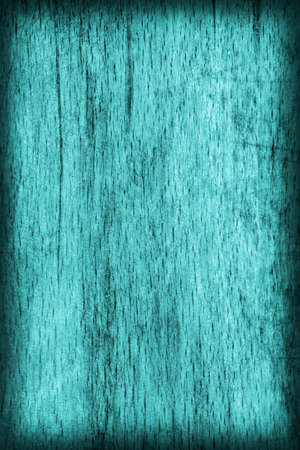 beech wood: Old Beech Wood Bleached and Stained Cyan, Vignette Grunge Texture Sample. Stock Photo