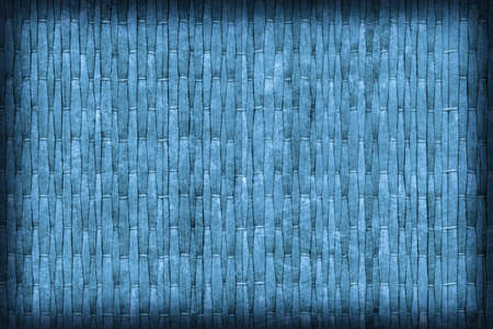 straw mat: Straw Mat, Bleached and Stained Dark Blue, Vignette, Grunge Texture Sample.
