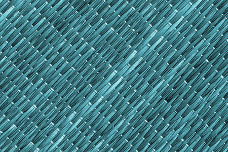 weave: Straw Place Mat Weave Pattern, Bleached and Stained Dark Cyan, Grunge Texture Sample. Stock Photo