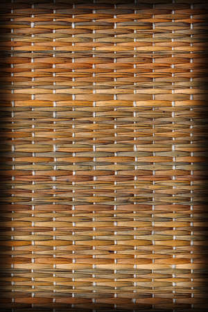 straw mat: Straw Mat Green Ocher Stained Weave Pattern Base, with Interlaced Multicolored Threads, Vignette, Grunge Texture Sample.