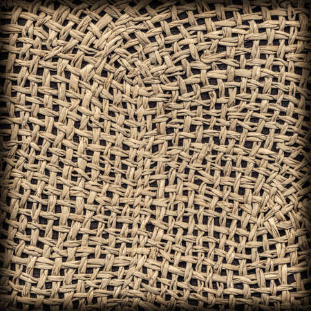 plaited: Straw Hat, Plaited Curved Mesh Pattern, Rough, Natural Ocher, Vignette, Grunge Texture Sample.