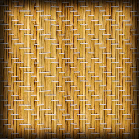 straw mat: Straw Mat Natural Ocher Weave Pattern, with Multicolored Threads Interlaced, Vignette Grunge Texture Sample.