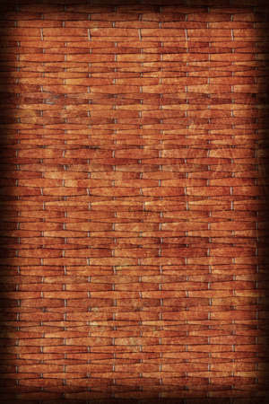 umber: Straw Place Mat Weave Pattern, Stained Burnt Umber Brown, Grunge Texture Sample.