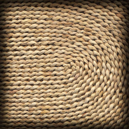 plaited: Raffia Place Mat Plaited Detail, Natural Pale Ocher, Vignette Grunge Texture Sample. Stock Photo