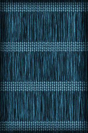 plaits: Place Mat, Made of Interwoven Paper Parchment Plaits, Stained Dark Marine Blue, Vignette, Grunge Texture Sample.