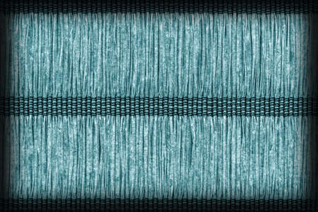 plaits: Place Mat, Made of Interwoven Paper Parchment Plaits, Stained Dark, Pale Cyan Blue, Grunge Texture Sample.