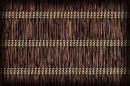 umber: Place Mat, Made of Interwoven Paper Parchment Plaits, Stained Dark Umber Brown, Vignette, Grunge Texture Sample.