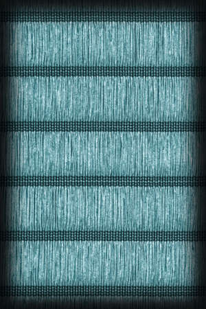 plaited: Paper Parchment Plaited Place Mat, Stained Dark Cyan Blue, Vignette Grunge Texture Sample. Stock Photo