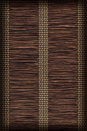 umber: Paper Parchment Plaited Place Mat, Stained Dark Umber Brown, Vignette, Grunge Texture Sample. Stock Photo