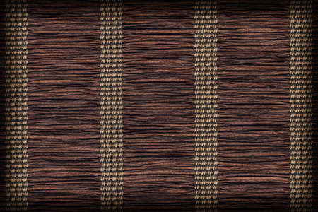 plaited: Paper Parchment Plaited Place Mat, Stained Dark Umber Brown, Vignette, Grunge Texture Sample. Stock Photo