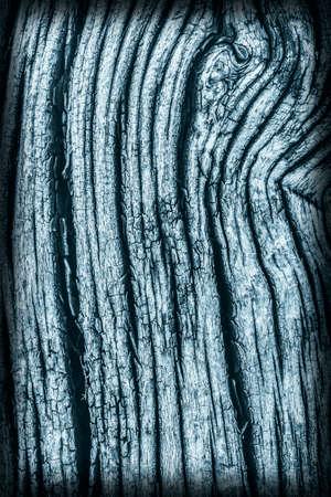 dilapidation: Old Wood, Weathered, Rotten, Cracked, Dark Pale Blue, Vignette, Grunge Texture. Stock Photo