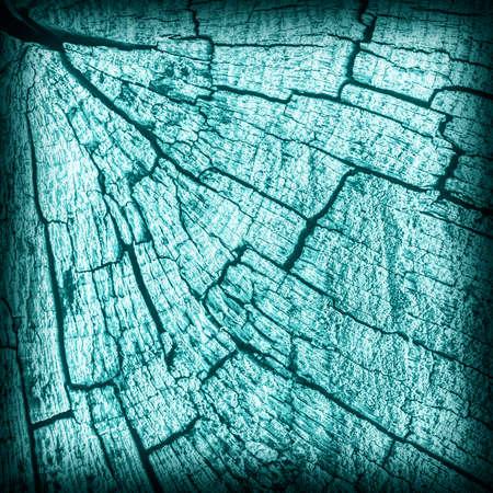 nature symbols metaphors: Old Stump, Weathered, Rotten, Cracked, Top Surface, Dark Pale Cyan, Vignette, Grunge Texture. Stock Photo