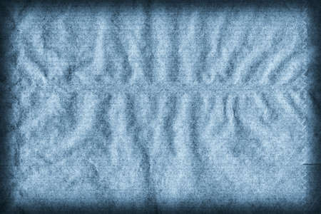 blotted: Recycle Kraft Paper, Coarse Grain, Crumpled, Blotted, Mottled, Stained Pale Powder Blue, Vignette Grunge Texture Sample. Stock Photo