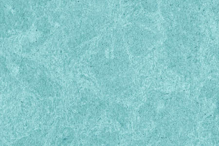 blotted: Recycle Kraft Paper, Coarse Grain, Crumpled, Blotted, Mottled, Stained Cyan, Grunge Texture Sample. Stock Photo