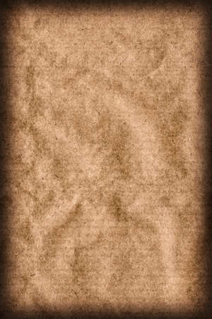 blotted: Recycle Brown Kraft Paper Coarse Mottled Crumpled Vignette Grunge Texture.