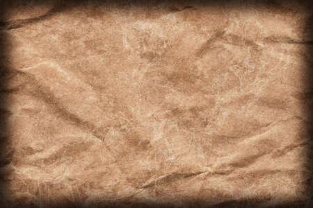 coarse: Recycle Brown Kraft Paper Coarse Mottled Crumpled Vignette Grunge Texture.