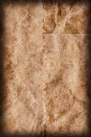 mottled: Recycle Brown Kraft Paper Coarse Mottled Crumpled Vignette Grunge Texture.