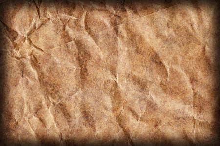 blotted: Recycle Brown Kraft Paper, Coarse Grain, Crumpled, Blotted, Mottled, Vignette, Grunge Texture Sample.