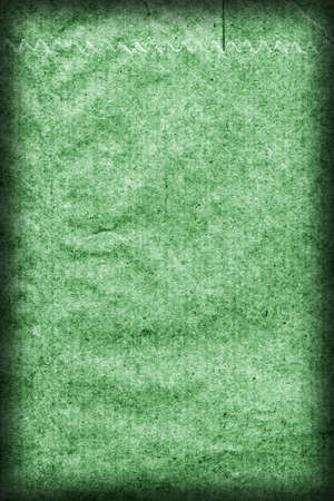 blotted: Recycle Kraft Paper, Coarse Grain, Crumpled, Blotted, Mottled, Stained Green, Vignette Grunge Texture Sample.