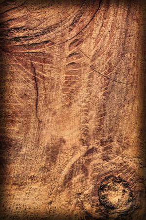 dilapidation: Old Knotted Wood, Weathered, Rotten, Cracked, Vignette, Grunge Texture. Stock Photo