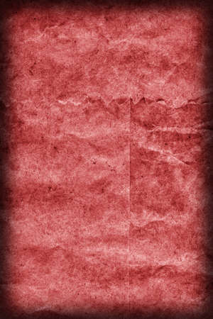 blotted: Recycle Kraft Paper, Coarse Grain, Crumpled, Blotted, Mottled, Stained Red, Vignette, Grunge Texture Sample.