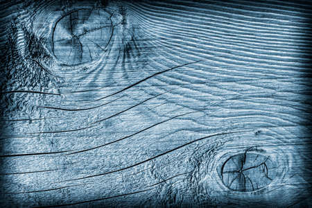 Old Wood Blue Stained Vignette Grunge Texture.