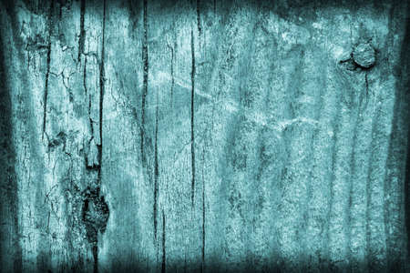 floorboard: Old, Weathered, Floorboard, Knotted, Stained, Pale, Cyan, Vignette, Grunge, Texture. Stock Photo