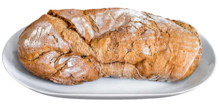 clip art wheat: Rustic Crusty Bread on White Porcelain Platter, Isolated on White Background Stock Photo