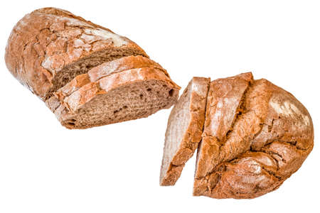 crusty: Sliced Rustic Crusty Bread Loaf Isolated on White Background Stock Photo
