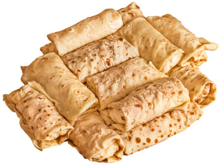 preparatory: Bunch of Cheese and Ham Pancake Rolls Isolated on White Background