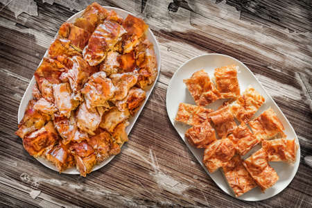 peeledoff: Platefuls of Cheese Pie Gibanica and Spit Roasted Pork on Old Wood