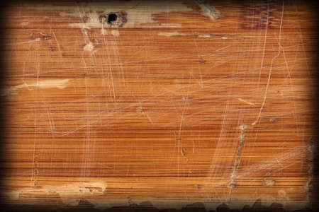 tongue and groove: Scanned Image of an Old Weathered Varnished Block-board, Cracked, Scratched, Peeled Off, Vignette Grunge Texture. Stock Photo