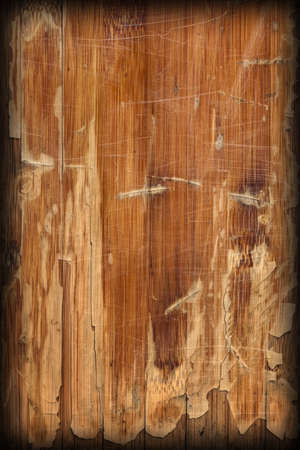 brunt: Scanned Image of an Old Weathered Varnished Block-board, Cracked, Scratched, Peeled Off, Vignette Grunge Texture. Stock Photo