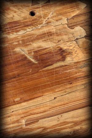 varnished: Scanned Image of an Old Weathered Varnished Block-board, Cracked, Scratched, Peeled Off, Vignette Grunge Texture. Stock Photo