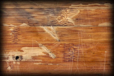 Scanned Image of an Old Weathered Varnished Block-board, Cracked, Scratched, Peeled Off, Vignette Grunge Texture. Stock Photo