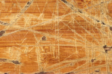 softwood: Old Varnished Block-board, Weathered, Cracked, Scratched, Peeled Off, Grunge Texture. Stock Photo