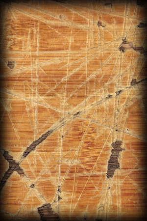 brunt: Old Varnished Block-board, Weathered, Cracked, Scratched, Peeled Off, Vignette Grunge Texture.