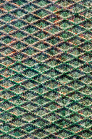 ribbed: Shabby Green Ribbed Steel Plate Peeled Corroded Grunge Texture Stock Photo