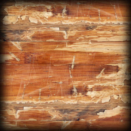 brunt: Old Weathered Wood Laminated Flooring Varnished Blockboard Panel, Cracked, Scratched, Peeled Off, Vignette Grunge Texture Stock Photo