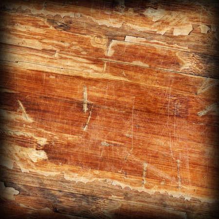 Old Weathered Wood Laminated Flooring Varnished Blockboard Panel, Cracked, Scratched, Peeled Off, Vignette Grunge Texture Stock Photo