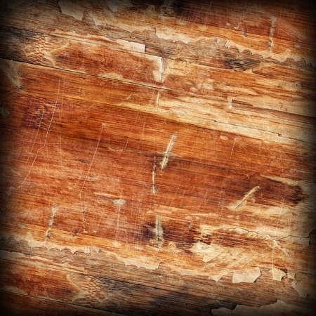brunt: Old Weathered Wood Laminated Flooring Varnished Blockboard Panel, Cracked, Scratched, Peeled Off, Vignette Grunge Texture Stock Photo