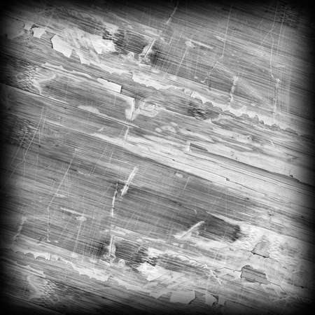 Old Weathered Wood Laminated Flooring Varnished Blockboard Panel, Cracked, Scratched, Peeled Off, Gray Vignette Grunge Texture