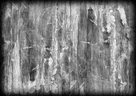brunt: Old Weathered Wood Laminated Flooring Varnished Blockboard Panel, Cracked, Scratched, Peeled Off, Gray Vignette Grunge Texture
