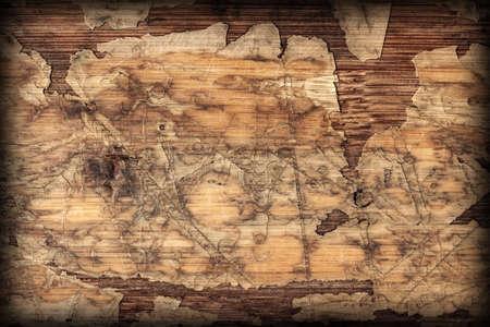 varnished: Old Laminated Flooring Varnished Wood Block-board, Cracked Scratched Peeled Vignette Grunge Texture.