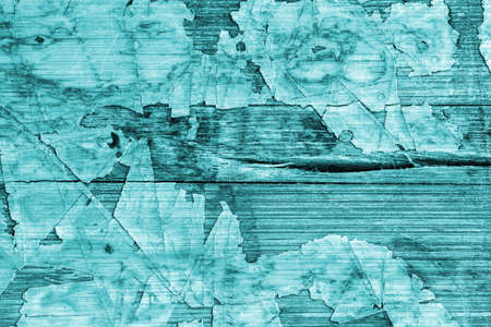 laminated: Old Cyan Laminated Flooring Varnished Wood Block-board, Cracked Scratched Peeled Grunge Texture.