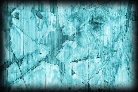 tongue and groove: Old Cyan Laminated Flooring Varnished Wood Block-board, Cracked Scratched Peeled Vignette Grunge Texture.